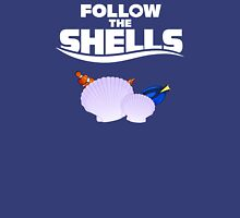 Follow the Shells – White Text Womens Fitted T-Shirt
