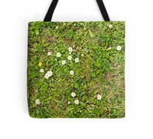 Grass With Daisies and Weeds Tote Bag