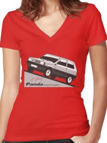 Fiat Panda by Giugiaro Women's Fitted V-Neck T-Shirt