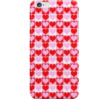 Love Heart Red Pink and White Check Pattern iPhone Case/Skin