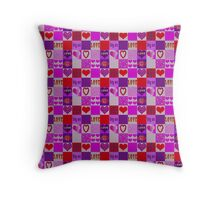 Patchwork Romantic Hearts Pattern Throw Pillow