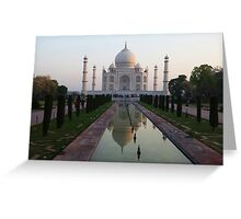 The Taj Mahal and reflective pool at dawn. Greeting Card