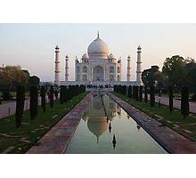 The Taj Mahal and reflective pool at dawn. Photographic Print