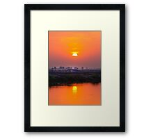 sunset in farm Framed Print