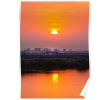 sunset in farm Poster