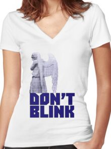 dont blink. Women's Fitted V-Neck T-Shirt