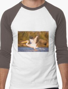 Pelicans in the water Photographed in Ein Afek Nature Reserve Men's Baseball ¾ T-Shirt