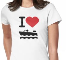 I love boating Womens Fitted T-Shirt