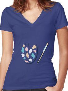 Art palette and paint brush Women's Fitted V-Neck T-Shirt