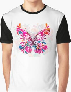 Abstract Butterfly in Blues, Pinks and Purples Graphic T-Shirt