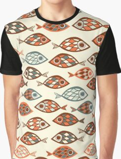 Retro Mod Abstract Fish Graphic T-Shirt
