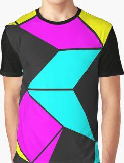 Florescent Turquoise Black Geometric  Graphic T-Shirt