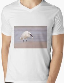 Little egret (Egretta garzetta) catches fish while wading in a pool.  Mens V-Neck T-Shirt