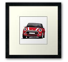Mini Cooper S (Mini Hatch illustration) red - white Framed Print
