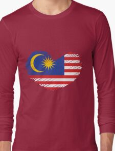 Love Malaysia Flag Heart Long Sleeve T-Shirt