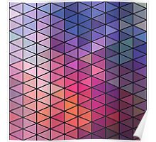 Retro Geometric -Pink and Purple Poster
