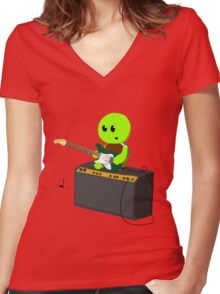 Guitar Turtle Women's Fitted V-Neck T-Shirt