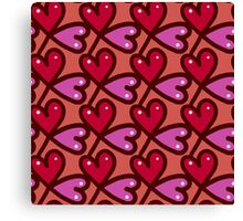Cute valentine's seamless pattern with hearts Canvas Print