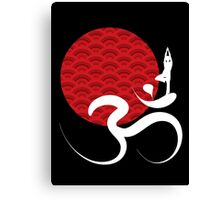 Red Sun, Yoga and Om Canvas Print