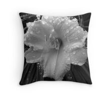 Day Lily(Black and White) Throw Pillow