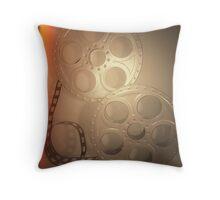 Grey Vintage Film Reel Pillow Throw Pillow