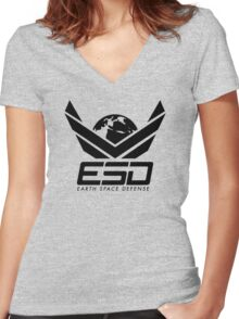 Earth Space Defense (global) Women's Fitted V-Neck T-Shirt