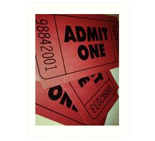 Vintage Admit One Film Ticket Poster (+card/prints) Art Print