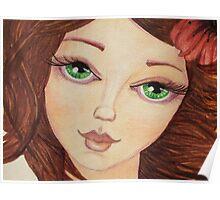 Close up green eye girl Poster