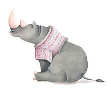 Cute sitting Rhino in knitted jersey. Photographic Print