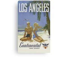 Los Angeles Continental Air Lines Vintage Travel Poster Canvas Print