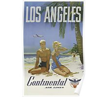 Los Angeles Continental Air Lines Vintage Travel Poster Poster