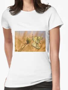 Two mating Southern swallowtail (Papilio alexanor) butterflies Womens Fitted T-Shirt
