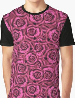 Seamless flowers of dark pink roses pattern print background Graphic T-Shirt