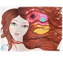 Green eyed girl with bird Poster