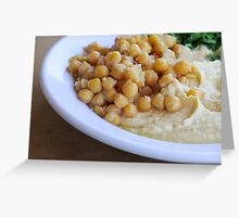 Hummus. A Levantine Arab dip or spread made from cooked, mashed chickpeas,  Greeting Card