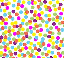 Colorful Polka Dots on a White Background by AnnOriginal