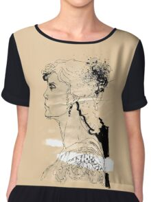 Vintage girl ink drawing on craft paper Chiffon Top
