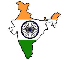 India Map With Indian Flag Photographic Print