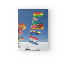 Flags in Salar Uyuni deser Hardcover Journal