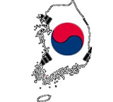 South Korea Map With South Korean Flag Photographic Print