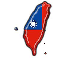 Taiwan Map With Taiwanese Flag Photographic Print