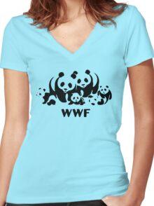 wwf logo Women's Fitted V-Neck T-Shirt