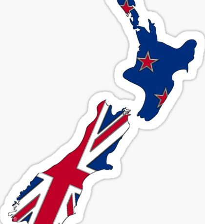 New Zealand Map With Kiwi Flag Sticker