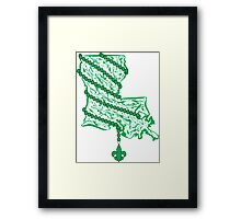 Louisiana State Wrapped in Green Beads Framed Print