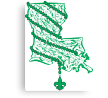 Louisiana State Wrapped in Green Beads Canvas Print