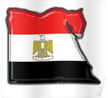 Egypt Map With Egyptian Flag Poster