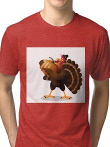 Cartoon turkey holding huge pumpkin Tri-blend T-Shirt