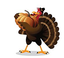 Cartoon turkey holding huge pumpkin Photographic Print