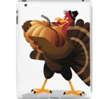 Cartoon turkey holding huge pumpkin iPad Case/Skin