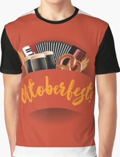 Oktoberfest design with accordion, beer, pretzel and wheat Graphic T-Shirt